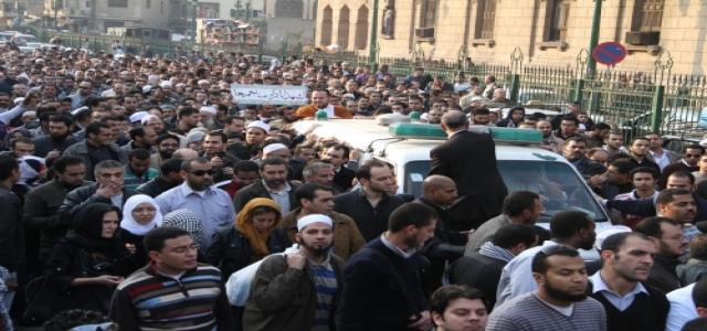 Thousands Demonstrate at Al-Azhar Mosque During the Funeral of Sheikh Emad Effat