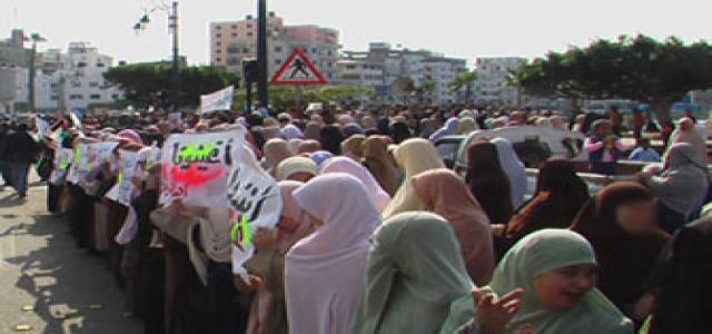 Group of Egyption women call for release of their husbands