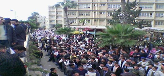 Demonstrations objecting to the arrest of 8 MB students in Zagazig's Faculty of Engineering.